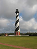 Built in  1840 the Cape Hatteras Lighthouse is the tallest Brick Lighthouse in America.  There are two black and two white stripes on the Cape Hatteras lighthouse; each circles the tower 1.5 times; all are wider at the bottom than at the top.